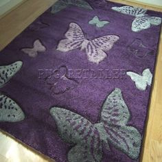 Select Butterfly Purple & Grey Modern Wilton Rugs 80x150cm: Amazon.co.uk: Kitchen & Home