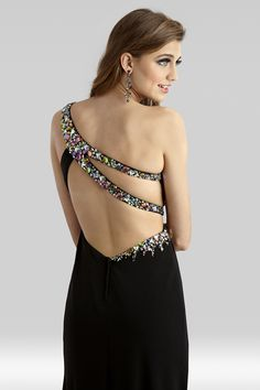 24ec02af55 Clarisse 2014 Black Multi One Shoulder Cut Out Long Jersey Prom or Evening  Gown 2343