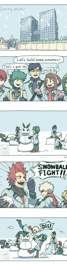 My Hero Academia | Look, what Iida is doing. He's doing a fuckin' snow cube ^o^
