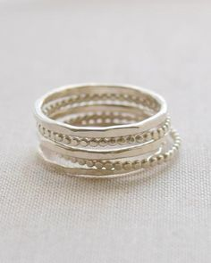 3 THREE TRICOLOR THIN STACKING BEADED Bands Ring Sterling Silver.925  10 OR 12