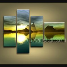 Beautiful Contemporary Wall Art High Quality Oil Painting For Bed Room Sunrise. This 4 panels canvas wall art is hand painted by E.Cheung, instock - $158. To see more, visit OilPaintingShops.com