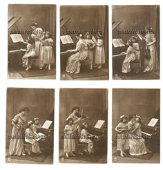 Music lessons 6 vintage postcards violin door vintagepostoffice