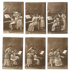 Music lessons 6 vintage postcards violin door vintagepostoffice