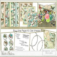 Butterfly Garden Page Kit - FREE Extras - Dragons Lair Designs Dragon's Lair, Digital Scrapbooking, Dragons, Sisters, Gallery Wall, Butterfly, Faith, Paper, Frame