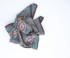 Vintage Silk Long Scarf by Glentey - Hand Rolled, Blue, Red, Burgundy $15