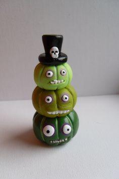 Halloween Pumpkins - The Voodoo Brothers - Stack of Three Green Pumpkins - Clay Sculptures - OOAK