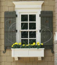Exterior shutters on vinyl window boxes 30 Trendy Ideas Window Shutters Exterior, House Shutters, Exterior Trim, Diy Exterior, Outside Window Shutters, Bedroom Shutters, Diy Shutters, Outdoor Window Trim, Outdoor Shutters