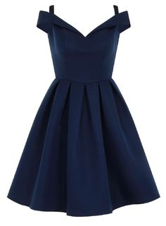 Kleidung Womens *Chi Chi London Blue Fold Over Bardot Midi Dress- Blue a good drink of water. Hoco Dresses, Dance Dresses, Homecoming Dresses, Cute Dresses, Beautiful Dresses, Teen Dresses, Bardot Midi Dress, Pleated Midi Dress, Blue Midi Dress