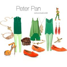 It's funny how many people are making Polyvore pages based on female fashion ensembles inspired by fantasy characters regardless of gender. Peter Pan I can understand because like Bart Simpson, he's played by grown women (at least on stage).