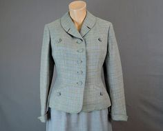 1940s Blue, Green and Pink Plaid Wool Tailored Suit Jacket - fits 36 inch bust - by Linker, Lord & Taylor - $45.00  by dandelionvintage