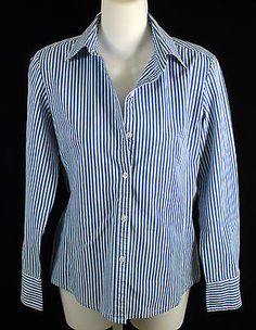 Cabi Blue Striped Button Down Long Sleeve Top Womens Shirts Size Small Fitted