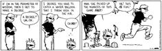 """Roslyn: """"If I'm in the perimeter of wisdom, I decree that you have to catch a water balloon that I throw high in the air."""" Calvin, to Hobbes: """"Man, she picked up the nuances of this game fast!"""" Calvin and Hobbes for 16 September 2015"""