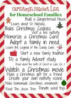 Christmas Bucket List for Homeschool Families
