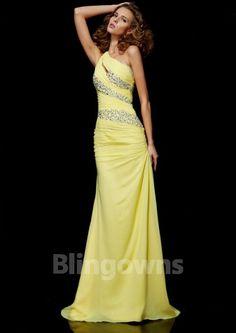 One Shoulder Crystals Zipper Sweep Yellow Sleeveless Chiffon Sheath Evening    Prom Dresses Prom Dresses Uk cfa51c3b4001