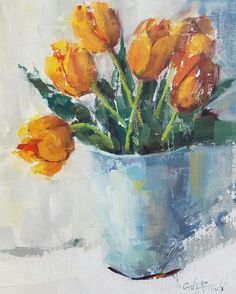 """True"" orange tulips ~ impressionistic oil painting by Alabama artist Gina Brown www.GinaBrownArt.com"
