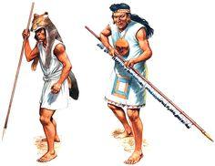 """""""Mapuche warrior & Cañari warrior"""", Peter Dennis"""