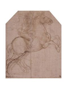 Giclee Print: Rider on Rearing Horse, C.1481-82 (Silverpoint, Pen and Brown Ink on Prepared Paper) by Leonardo da Vinci : 24x18in