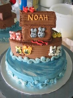 Noah's Ark Cake: Noah's Ark Cake  I made this cake using several stacked tiers: first, a 8 round single-layer for the bottom. Then, the Ark is made out of 2 small round