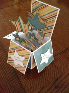 Pop up box card using Simple Stories papers and Papermania star die. No link.