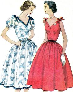 1950s Dress Pattern Simplicity 3890 Day or Evening Full Skirt Dress Sleeveless…