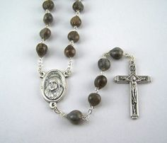 Mother Teresa Rosary featuring Job's Tears by FaithHopeAndBeads