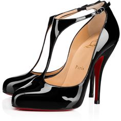 Miss Bettie 120 Patent 120 Black Patent calfskin - Women Shoes -... ($695) ❤ liked on Polyvore featuring shoes, christian louboutin, patent leather shoes, black patent shoes, patent shoes and christian louboutin shoes