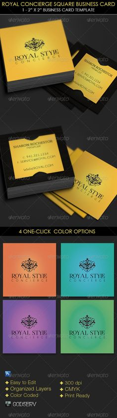 Royal Concierge Square Business Card Template - $6.00 The Royal Concierge Square Business Card Template is for a modern professional concierge service personnel. The template can also be used for other services with simple edits. Make it part of your arsenal in your template database. Sold exclusively on graphicriver.net.