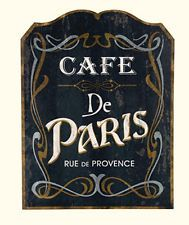 New French Country Chic Vintage CAFE DE PARIS Wood Sign Plaque Wall Decor