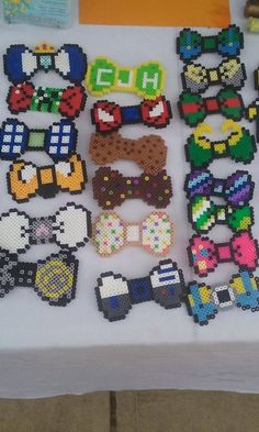Hair-clip/Bow-Tie perler beads by WildCardWhimsys
