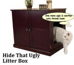 Decorative Brown Faux Leather Cat Litter Box Cover Storage Ottoman Condo  Bed   Pets   Pinterest   Litter Box Covers, Litter Box And Cat Supplies