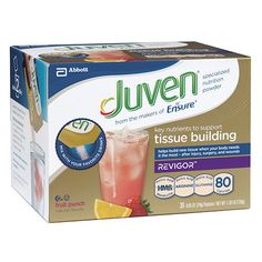 JUVEN 56431 FRUIT PUNCH DRINK MIX CARTON/30 Juven's unique blend of Revigor (source of HMB, an amino acid metabolite), Arginine and Glutamine—naturally existing in the body—is clinically shown to begi