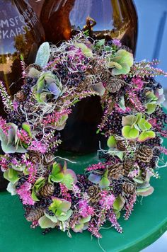 hydrangeas, elderberry, Calluna heather, Spanish moss, larch, lamb's ears and orpine wreath