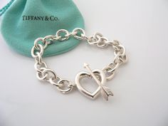 Tiffany & Co Silver Heart Arrow Toggle Bracelet Bangle Chain Rare