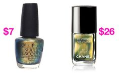 9 High-End Makeup Duplicates That Can Save You LOTS Of Money, like this nail polish: OPI Spotted Lizard vs. Chanel Peridot