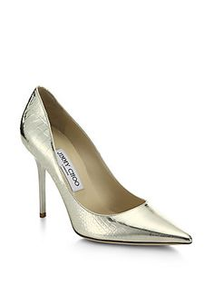 Jimmy Choo Abel Croc-Embossed Pointy-Toe Pumps