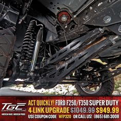 For a limited time only, you can get our HEAVY DUTY Ford Super Duty 4-Link upgrade for only $949.99! http://www.topguncustomz.com/c-106-long-control-arms.aspx?section=-1640-29-2182-254-215-