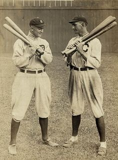 Ty Cobb of the Detroit Tigers, and Shoeless Joe Jackson of the Cleveland Naps in Cleveland, 1913. PURE DETROIT