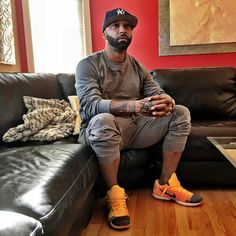 Joe Budden wearing the 'Rivalry' Nike Kobe 10 Elite