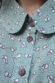omygosh cute is an understatement for this amazing bunny polka dot collared button up <3