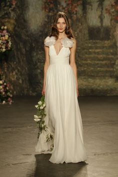 Jenny Packham 2016 Wedding Dress Collection inspired by Shakespeare A Midsummers Night Dream. Stylish wedding dresses for diverse brides on Nu Bride Jenny Packham Wedding Dresses, Jenny Packham Bridal, 2016 Wedding Dresses, Designer Wedding Dresses, Dresses 2016, Bridal Musings, Chiffon, Beautiful Wedding Gowns, Bridal Fashion Week