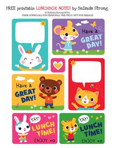 Free printable preschool lunchbox notes by Belinda Strong - Kids Lunch Kids Lunch Box Ideas Schools, Lunchbox Notes For Kids, Lunch Notes, Lunchbox Ideas, Kids Notes, Bento Ideas, School Lunch Box, School Days, Kids Meals