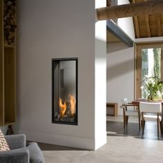Double-sided fireplace / gas turbine / closed hearth / contemporary VERTICAL BELL M. TUNNEL 3 Bellfires Source by chrigaillard Fireplace Hearth, Home Fireplace, Modern Fireplace, Living Room With Fireplace, Fireplace Design, Gas Fireplaces, Linear Fireplace, Living Room Photos, Living Room Windows
