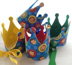 Hey, I found this really awesome Etsy listing at https://www.etsy.com/listing/199407925/curious-george-birthday-crown-party-hats