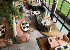 VWArtclub - Mazyara Restaurant Greenhouse Cafe, Restaurant Design, Restaurant Seating, Vintage Restaurant, Bakery Design, Restaurant Ideas, Cafe Restaurant, Danish House, Modern Family House