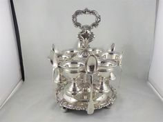 George III Old Sheffield Plate Egg Cruet Stand 1820 c Sheffield, Egg, Plates, Silver, Eggs, Licence Plates, Dishes, Griddles, Dish