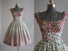Vintage 1950s Dress / 50s Cotton Dress / Pink and Red Floral Dress w/ SHELF BUST S