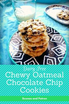 Chewy Oatmeal Chocolate Chip Cookies (Dairy Free) | A chewy oatmeal cookie base studded with sweet dark chocolate melts in your mouth, and pairs perfectly with a glass of milk (or coffee!). These will disappear in no time!