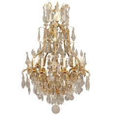 Late 19th Century Gilt Bronze and Crystal Chandelier   From a unique collection of antique and modern chandeliers and pendants  at https://www.1stdibs.com/furniture/lighting/chandeliers-pendant-lights/