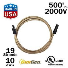 500 FEET SunGen Solar Panel Extension Cable Wire 500 Ft with MC4 Connectors PV ULLISTED 10AWG  2000V 500 >>> Click image for more details. Note: It's an affiliate link to Amazon