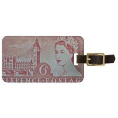 Queen Elizabeth II Big Ben Stamp Travel Bag Tags